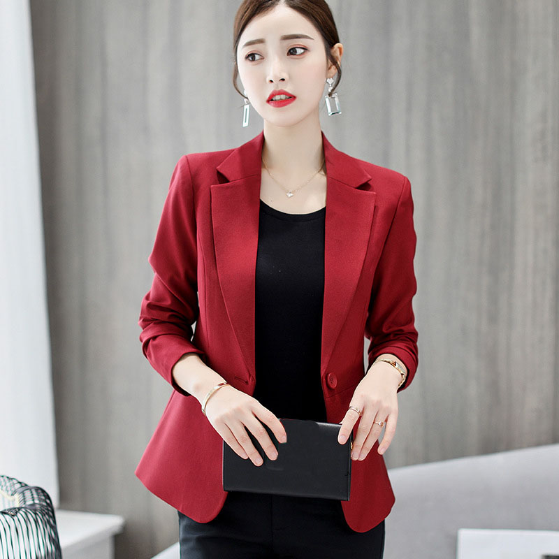 Formal Office Lady Blazers Women Black Blue Slim Long Sleeve Suit Casual Autumn Winter Coats Fashion Work Suits Woman Tops Pz618 Suits & Sets