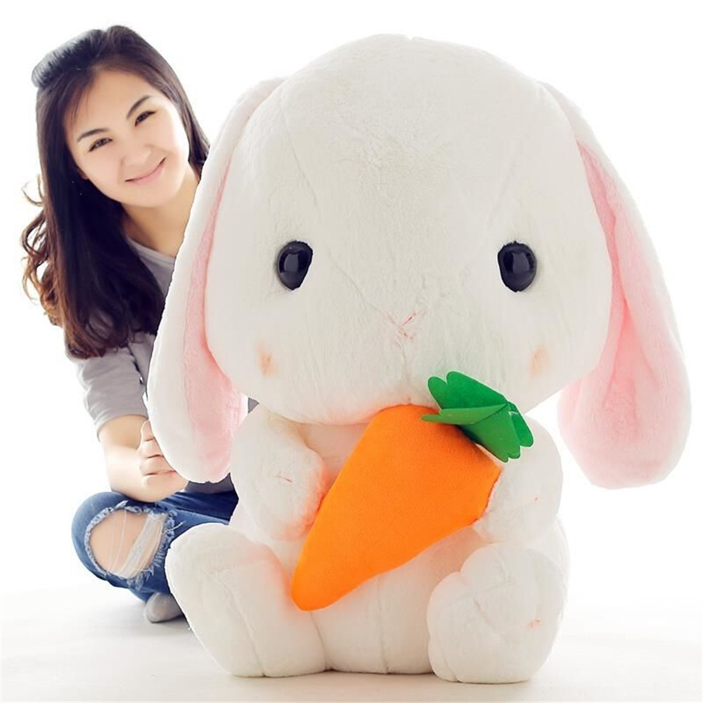 Fancytrader 30'' Big Bunny Plush Toy 75cm Giant Cartoon Anime Stuffed Rabbit with Carrot Great Toys for Kids Christmas 2 Colors fancytrader giant soft bunny plush toy big anime stuffed rabbit toys doll pink blue 110cm for children birthday christmas gifts
