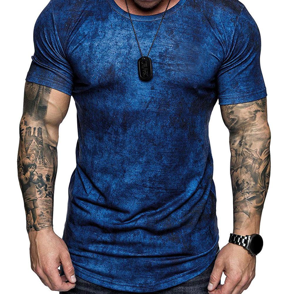 T-Shirt Men Short-Sleeve Slim-Fit Fashion Casual Tee Dye Crew-Neck Homme New-Tie Boy