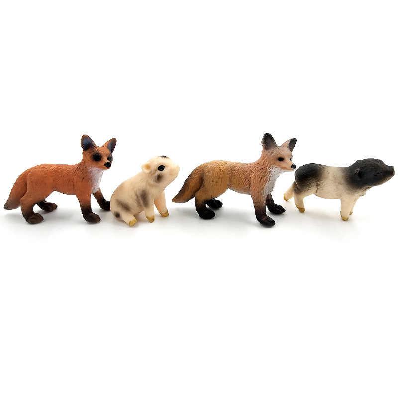 Mini Porket Simulação Raposa Vermelha Porco modelos animais selvagens da floresta animais estatueta Decoração de plástico brinquedos educativos Presente Para As Crianças