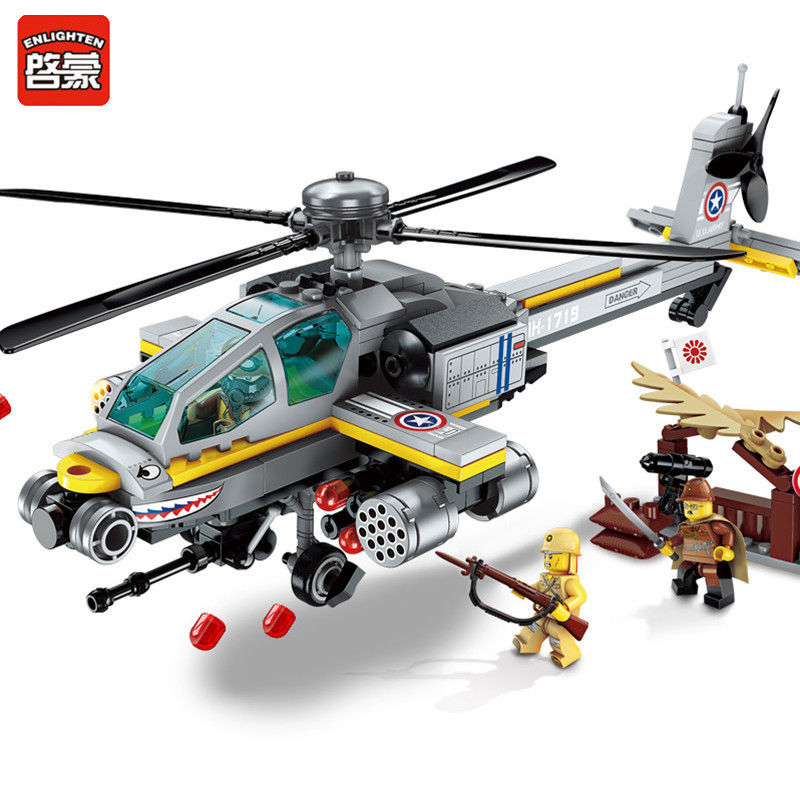ENLIGHTEN 280Pcs Apache Attack Helicopter Building Blocks Sets Compatible LegoINGLY ARMY Military Soldiers Bricks Toys for Boys