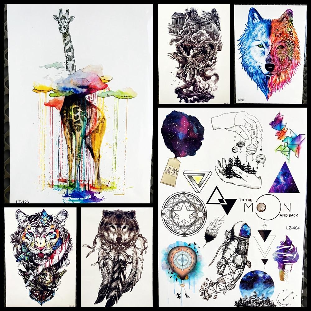 cedf73cf95c6e Fashion Watercolor Giraffe Art Temporary Tattoo Stickers Women Body Arm  Legs Fake Waterproof Tattoo Water Transfer
