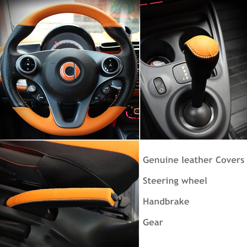 Genuine leather steering wheel & handbrake & gear covers 3pcs/set for benz smart fortwo forfour 2015 - 2017 accessories