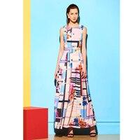 2018 Summer Dress Women Sleeveless O Collar Long Chiffon Dress Plus Size Print Ankle Length Casual