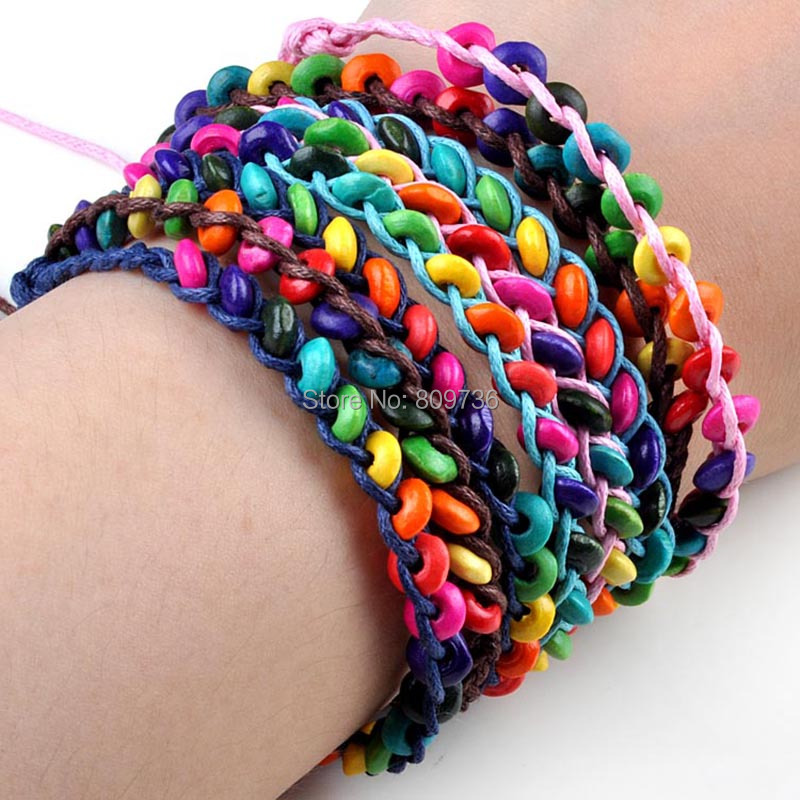 Lots120pcs Braid Bracelet Wood Bead Charm Bracelet Unisex Friendship Bracelets Wholesale Jewelry