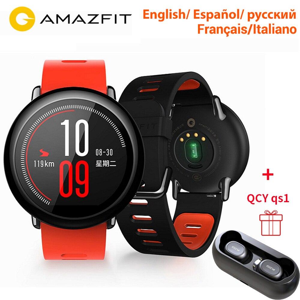 Подарочные наушники HUAMI AMAZFIT темп Спорт Смарт часы Smartwatch Bluetooth, Wi Fi 1,2 ГГц 512 Мб/4 ГБ gps сердечного ритма [английская версия]