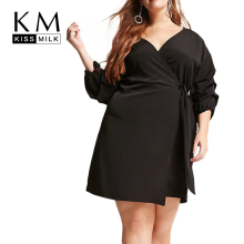 Kissmilk Plus Size Woman Solid Dress Sexy A-Line Half Sashes Empire V-Neck 2018 Summer New Fashion
