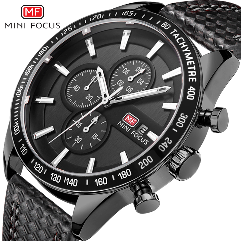 2018 MINI FOCUS Men Watch TOP Brand New Big Dial Auto Date Quartz Wristwatches Six-pin Waterproof Chronograph Sports Male Watch men sports watches waterproof multiple time zone led quartz wristwatches silicone auto date back light ohsen brand watch ad2806