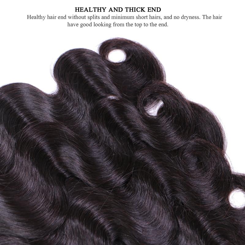Peruvian Body Wave Bundles Deal 3st / lot 100% Remy Human Hair Weave - Mänskligt hår (svart) - Foto 5