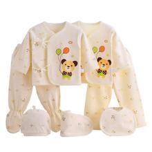 7 pcs/set Baby Newborn Cotton Cartoon Printing Clothes Set Girls Boys Soft  Wear