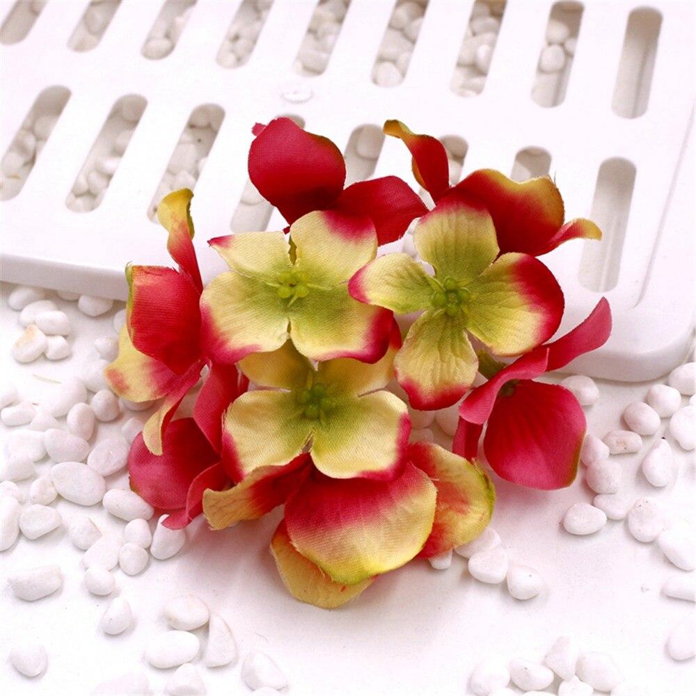 10pcs Decorative Head Hydrangea Rayon Silk Flower Simulation Diy