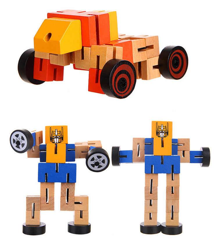 1 шт. деревянные блоки роботов трансформации детские развивающие строительные наборы обучающий интеллектуальный игрушки для детей различные цветные подарки