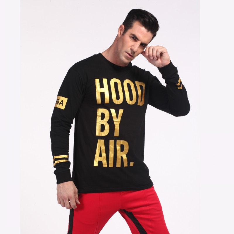 3daaf62e89598 Black Long Sleeve T Shirt With Gold Print -in T-Shirts from Men s Clothing    Accessories on Aliexpress.com