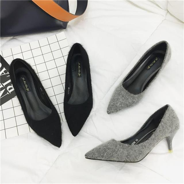 2017 Spring New Fashion Shoes Woman Mink Hair Thin Heels Pumps Pointed Toe Kitten Heels Wedding Shoes