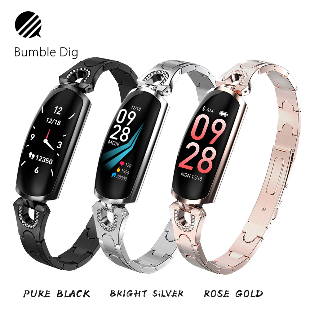 AK16 New Women Lady Fashion Smart Wristband Fitness Tracker Heart Rate Monitoring Bluetooth For Android IOS