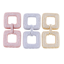 Gold Rhodium Color Micro Pave CZ Double Square Clasps AAA Zircon Stone Pave Setting CZ Buckle Clasps Fancy Jewelry Clasp CHFC22