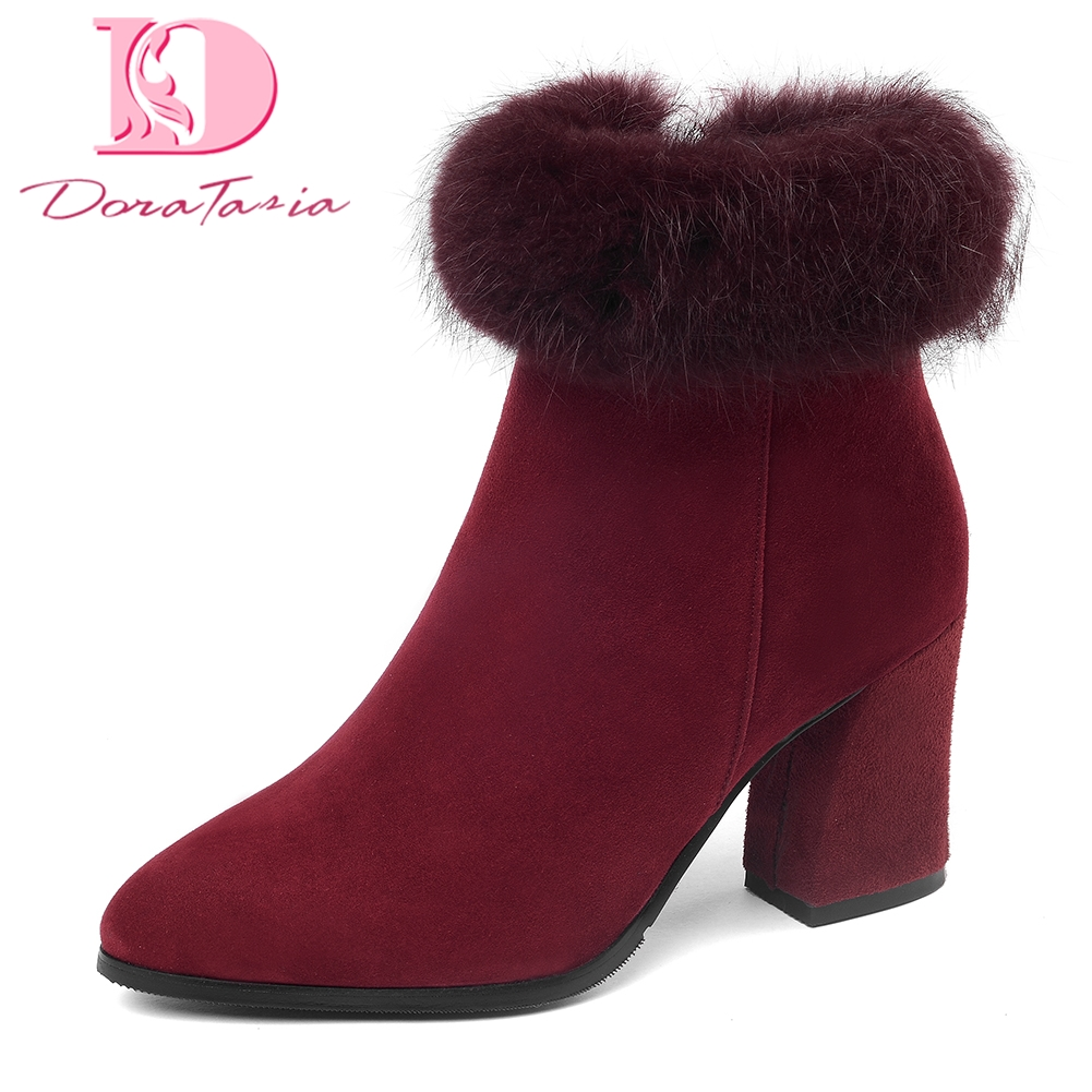 DoraTasia Brand New Kid Suede leather Plus Size 33-45 Zip Up Add Fur Ankle Boots Winter Warm Shoes Woman High Heels Women Shoes sarairis 2018 plus size 33 52 zip up warm ankle boots woman shoes chunky high heels add fur winter shoes woman boots
