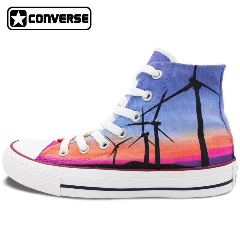 Sunset Windmill Original Design Converse All Star font b Shoes b font Woman Man Hand Painted