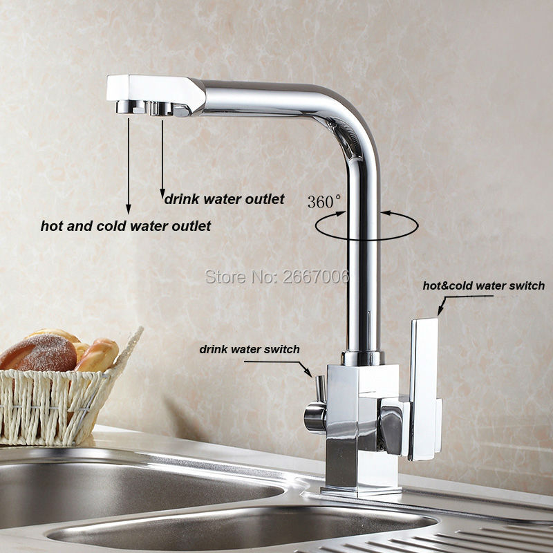 Free shipping Drink Water Faucet Kitchen Sink Mixer Tap Chrome Brass Taps Dual Handle Water Crane Dual Spout Faucet ZR646 golden brass kitchen faucet dual handles vessel sink mixer tap swivel spout w pure water tap