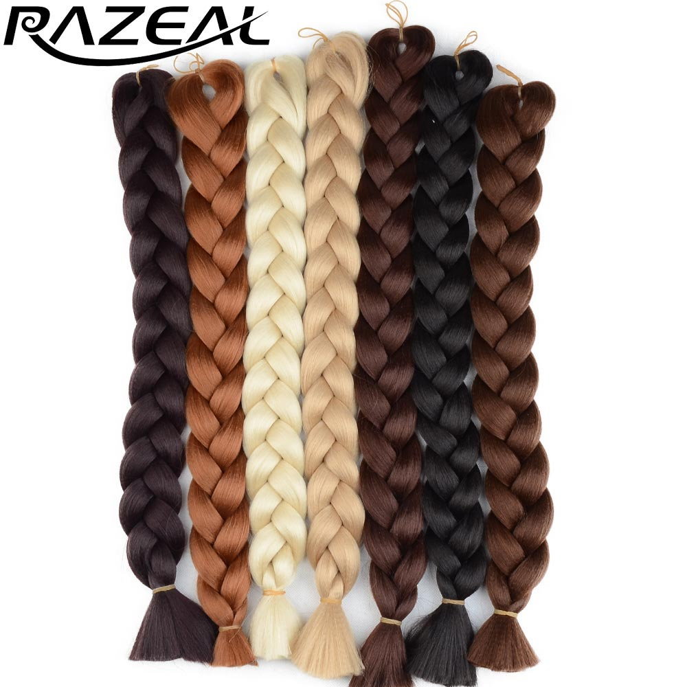 Contemplative Razeal 48inch 105g/pack Jumbo Kanekalon Braiding Hair Extensions Synthetic Braids Hair Colors Hair Braids