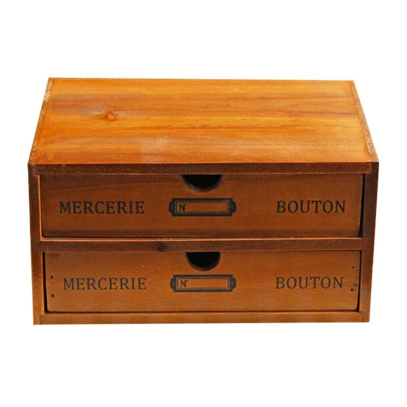 Motif de lettre bacs de rangement bois maquillage organisateur Vintage en bois tiroir boîte à bijoux boîte de maquillage boîtes de rangement organisador