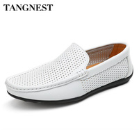 Tangnest NEW Split Leather Men S Shoes Casual Cut Out Breathable Loafers For Male Driving Shoes