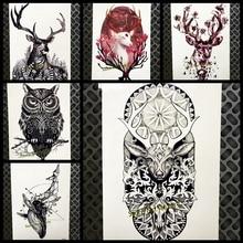 Christmas Deer Temporary Tattoo Elk Tree Henna Paste Wall Paperr 21x15CM Big Body Art Tattoo Arm Sleeve Reindeer Horn Tatoo Xmas