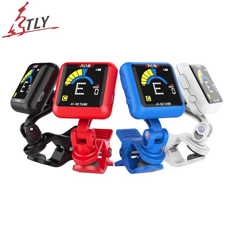 AROMA Rechargeable Clip-on Guitar Tuner Color Screen with Built-in Battery USB Cable for Chromatic Guitar Bass Ukulele Violin portable clip on guitar tuner capo 2 in 1 for guitar bass chromatic multifunction universal aroma ac 05