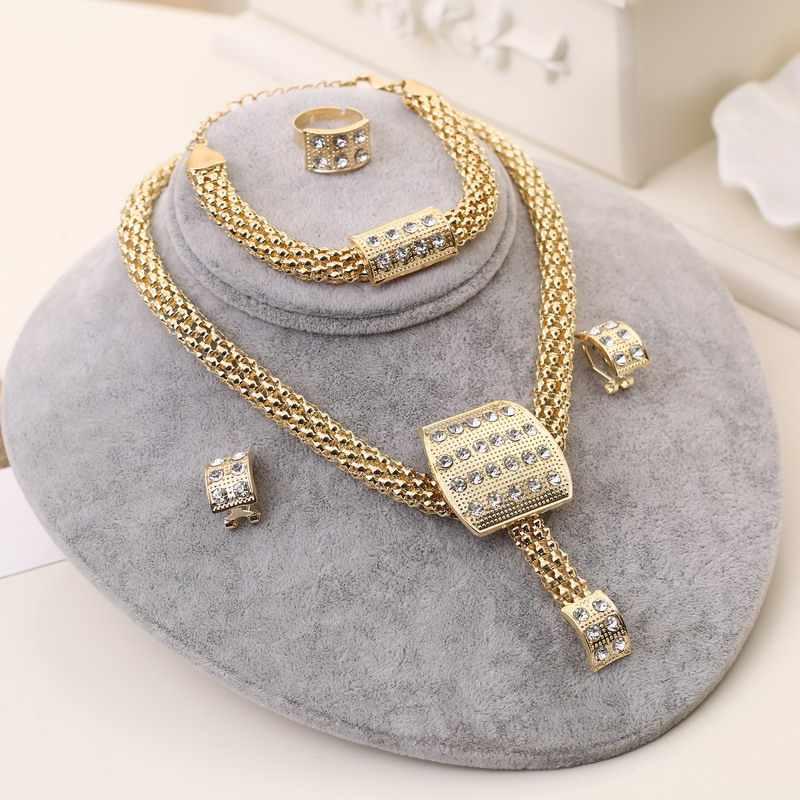 Fine African Beads ชุดเครื่องประดับ Gold สร้อยคอต่างหูสร้อยข้อมือแหวนชุดผู้หญิงดูไบอุปกรณ์จัดงานแต่งงานเจ้าสาว