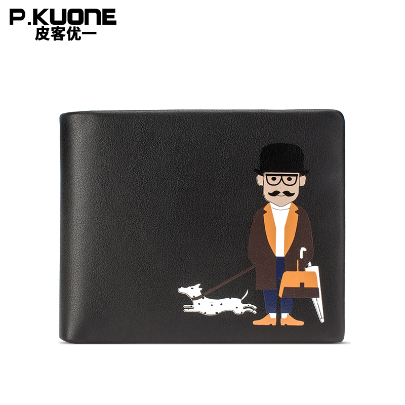 P.KUONE Uncle Walk Dog Wallet Genuine Leather Men Top Quality Luxury Famous Brand Purse Male Fashion Casual Travel Bag Designer