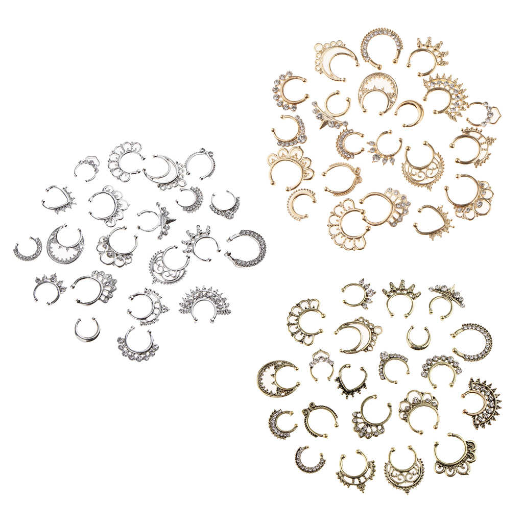 Hot Sale 21pcs Nose Fake Septum Ring Clip On Body Jewelry Faux Hoop Ring Rhinestone Stainless Steel  Fashion Jewelry Wholesale