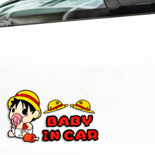 Volkrays Car Accessories Cute Baby In Car Cartoon Warning Car Sticker Decal Robot Cat for Smart Opel Golf Audi Focus Bmw X5 Mini(China)