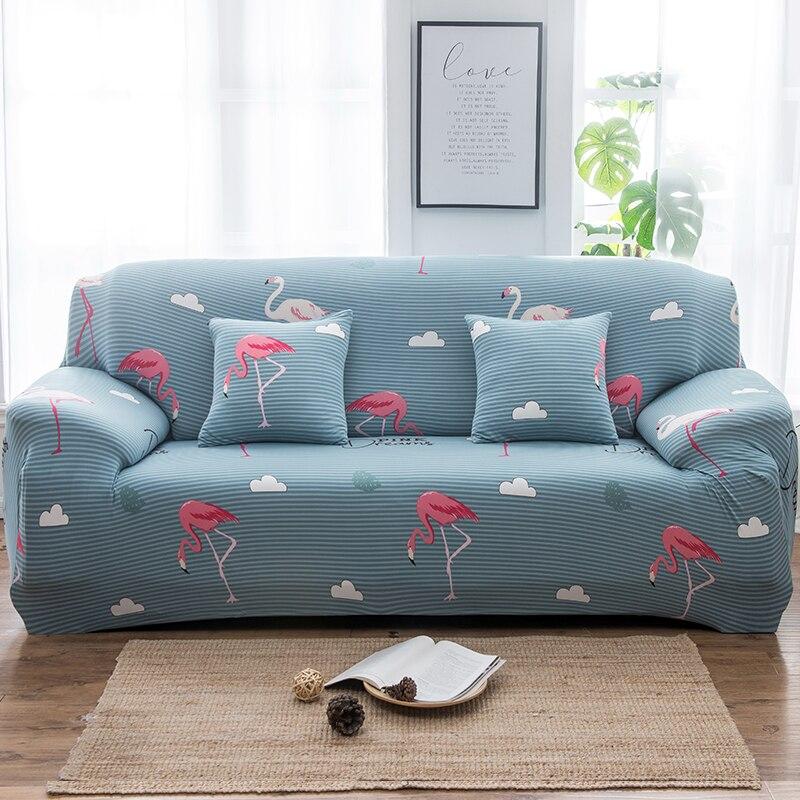 Gekwalificeerd Flamingo Sofa Cover Bladeren Elastische Spandex Kussenovertrekken Sectionele Sofa Stretch All-inclusive Sofa Handdoek Bank Case Woonkamer Speciale Zomerverkoop