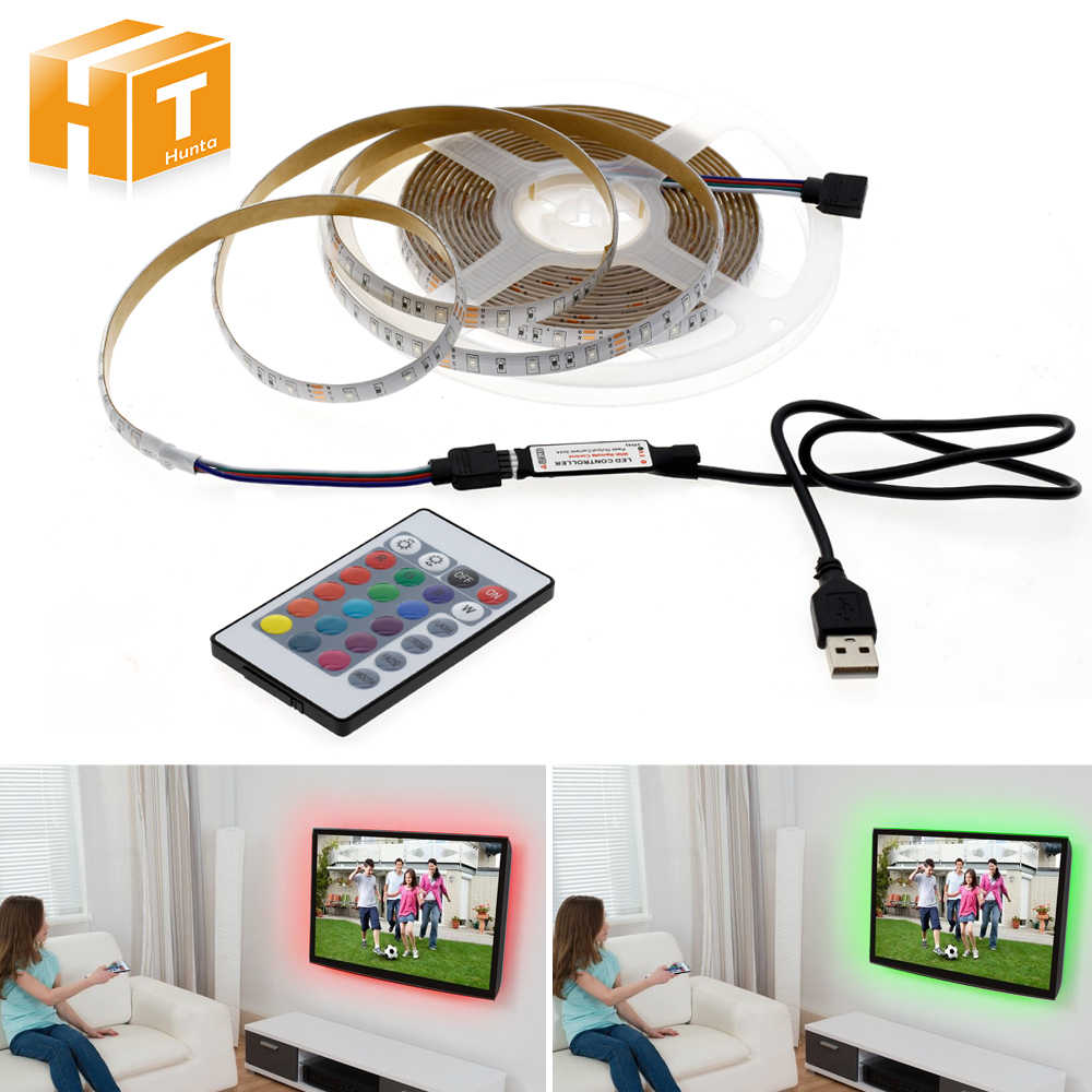 USB мощность светодиодные ленты свет 5 в RGB белый теплый белый 3528 2835 SMD ТВ Настольный ПК экран фоновое освещение 50 см 1 м-5 м USB полосы