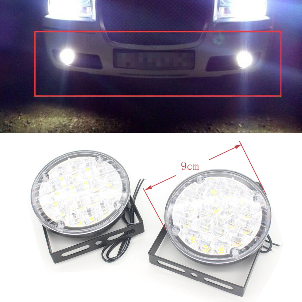 2X 18 LED 12V Round Auto Head LED Car Driving Light Automobiles Daytime Running Lights Led DRL Fog Lamp Warning Fog Light Xenon dc12v h7 7 5w 5led led fog light high power car auto led xenon white daytime running light bulbs headlight head lights