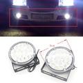 2X12 V 18 LED Rodada Cabeça Auto Carro LEVOU Luz de Condução automóvel Luz de Circulação Diurna DRL Nevoeiro luz de Aviso Da Lâmpada Luz de Nevoeiro Xenon