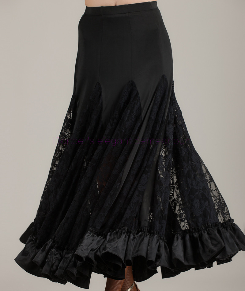NEW!  Ice Silk Ballroom Dance Skirt Women Lace Long Skirts Belly Dance Competition Skirt S-6XL Free To Make 030