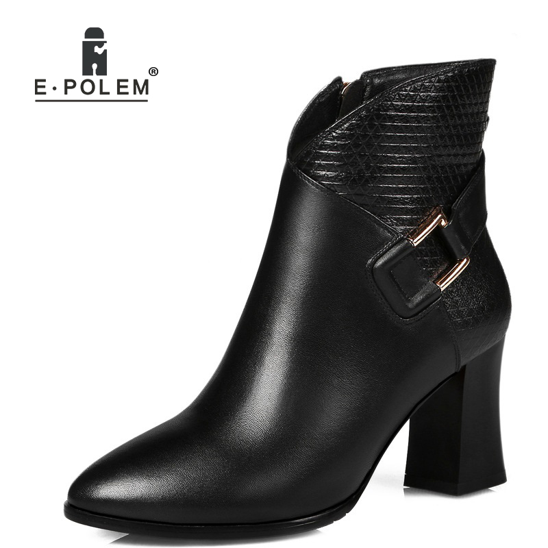Rock Buckle Genuine Leather Martin Boots Pointed Ends Leather Boots Thick Heel Women Ankle Boots Fashion Punk Style Winter Boots 2018 new arrival genuine leather fashion boots thick heel winter shoe motorcycle boots rivets party runway women ankle boots l09