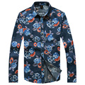 Shirts Men 2016 Autumn New Casual Man Printed Floral Male Shirt Long Sleeve Social Slim Fit Shirt Plus Size Tops Blouses 931