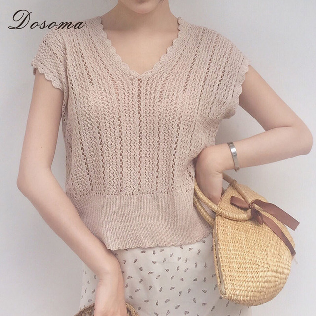 877d8a2fc6be93 Dosoma Summer Cotton Crochet Tank Top Hollow Out Sleeveless Sweater Women  Tops for Girls V-neck Pullover Sweaters Female 2017