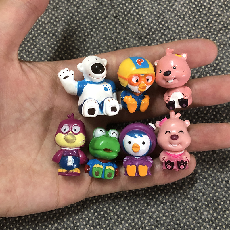 7/lot/pcs 3cm Cartoon anime Pororo Figures toy Dolls kids