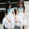 La princesa del cordón del vestido de la muchacha niños vestidos de primavera verano 2017 vestidos de algodón para las niñas 10 11 12 14 años rosa azul ropa de las muchachas