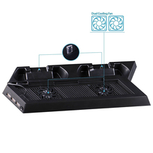 Cargador Dual Vertical controlador de estación de muelle de carga soporte de refrigeración ventilador + 2 USB HUB para Playstation4 PS4