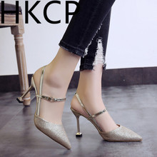 HKCP Women Fashion sequinned high-heeled sandals with pointed toes for women summer 2019 new stiletto C086