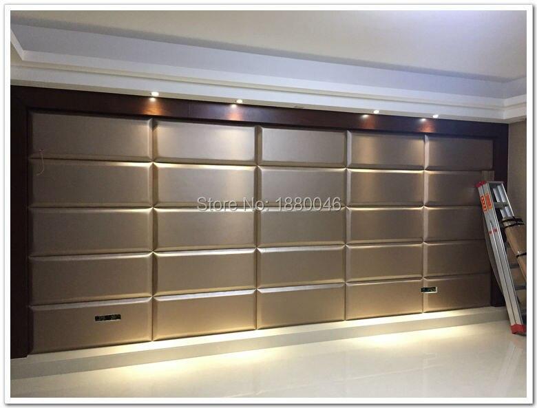 Nouveaux articles Europe Style 3D en cuir panneau mur en cuir panneaux panneau acoustique décoration de la maison canapé TV chambre pour mur 6 pièces 90*30*5 CM