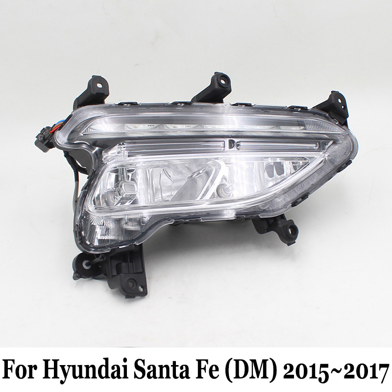For Hyundai Santa Fe (DM) 2015~2017 / Car LED Daytime Running Lights & Fog Lamp Assembly / Day Driving Lamp Car Styling seintex 85749 hyundai santa fe 2013 black