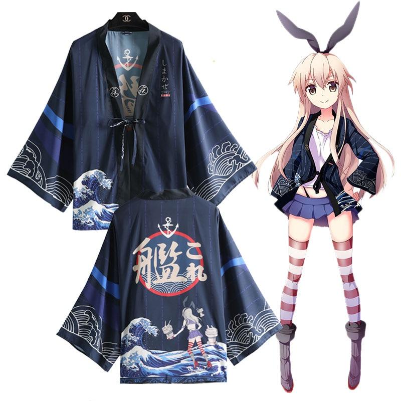 font b Anime b font Game Kantai Collection Shimakaze Cosplay Costumes Kimono Yukata Outerwear Coat