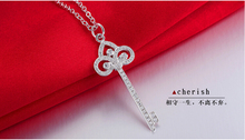 Free Shipping Elegant NSCD Synthetic female 66pcs key Dia mond Pendant women Sweater Necklace include sterling silver Chain