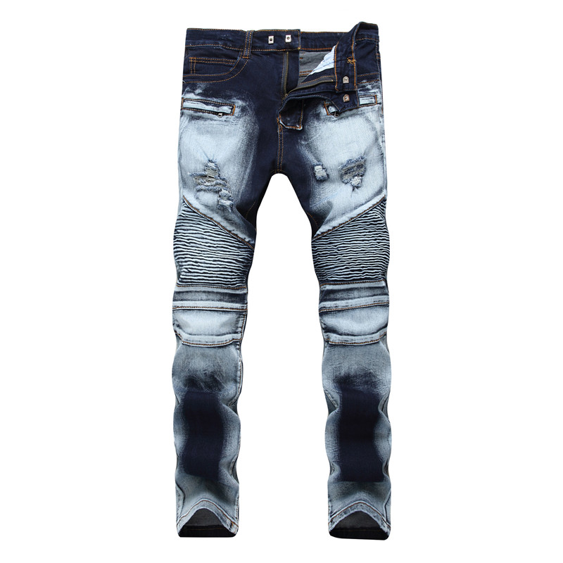 2018 New Fashion Destroyed  Biker Jeans Mens Ripped Distressed Straight Skinny Jeans Bleached Denim Pants Scratch Long Trousers