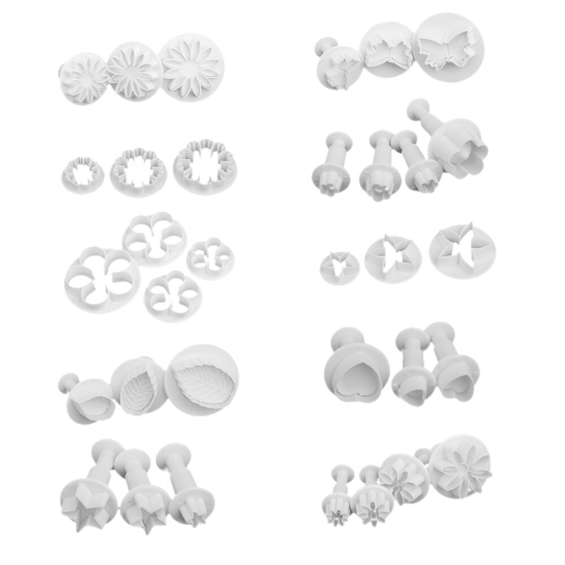 New 33Pcs DIY Cake Decorating Plastic Biscuit Printing Mould Pastry Plunger Cutters Tools Fondant Cookie Chocolate Baking Moulds